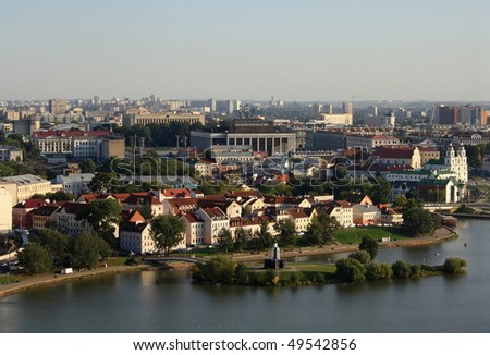 View on the historical centre of Minsk - stock photo