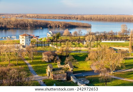 View on the junction of the River Sava and the Danube in Belgrade - stock photo
