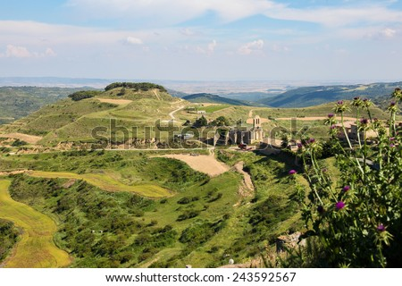 View on the landscape near Ujue, (Uxue in Basque), a town in Navarre, Northern Spain. - stock photo