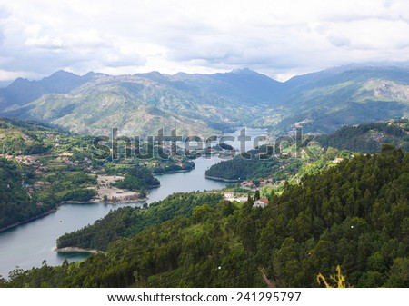 View on the Lima river meandering through Peneda Geres, the only national park in Portugal, located in the Norte region. - stock photo