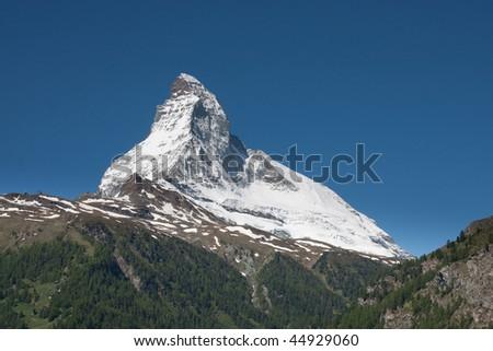 View on the Matterhorn from Zermatt in early summer. - stock photo