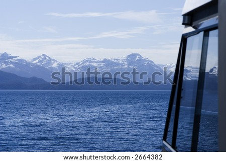 View on the Mountains from the Cruise Launch, Nahuel-Huapi Lake, Patagonia - stock photo