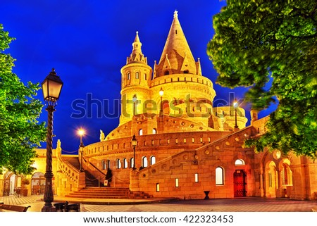 View on the Old Fishermen Bastion in Budapest. Night time. - stock photo