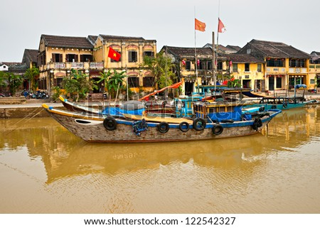 View on the old town of Hoi An. Vietnam. Unesco World Heritage Site. - stock photo