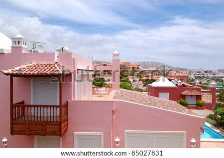 View on the pink villa, Tenerife island, Spain - stock photo
