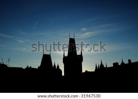 View on the Prague roofs from Charles bridge, Czech republic - stock photo