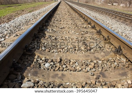 view on the railway track - stock photo
