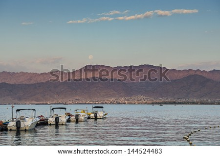 View on the Red Sea from central beach of Eilat, Israel - stock photo