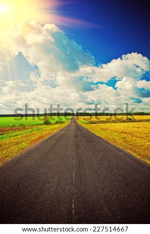view on the road on field instagram stile - stock photo