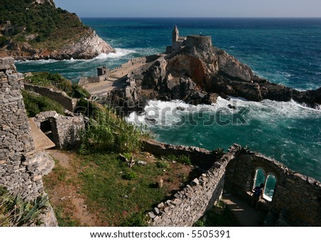 View on the San Pietro church from Doria castle in Portovenere, Italy. - stock photo