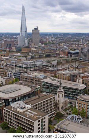 View on the Shard sjyscraper from the top of St. Paul's cathedral. - stock photo
