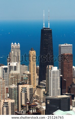 View on the skyscrapers in Chicago downtown on sunny day - stock photo