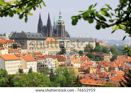 View on the spring Prague gothic Castle with the green Nature, Czech Republic - stock photo