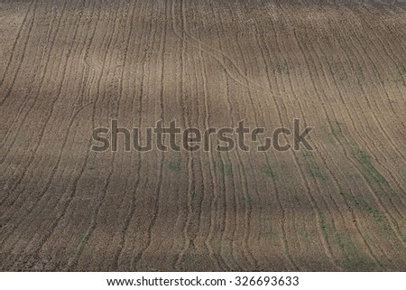 View on the tractor traces on the field - stock photo