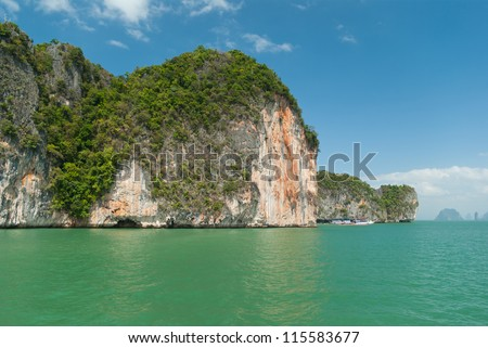View on the tropical islands in Andaman sea near Phuket, Thailand - stock photo