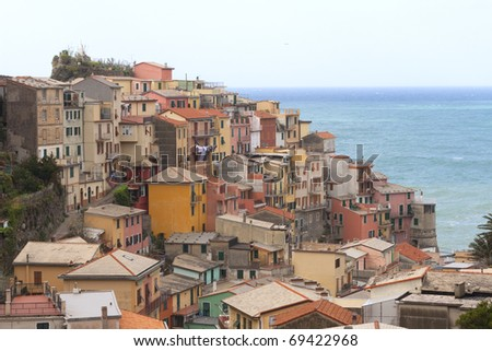 View on the village of Manorola in Cinque Terre in Italy - stock photo