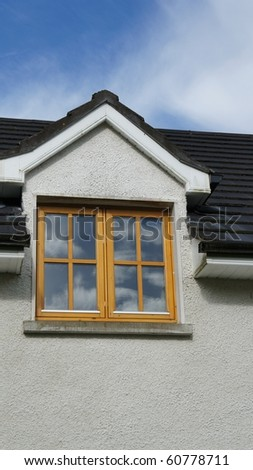 View on the Wooden window and blue sky - stock photo