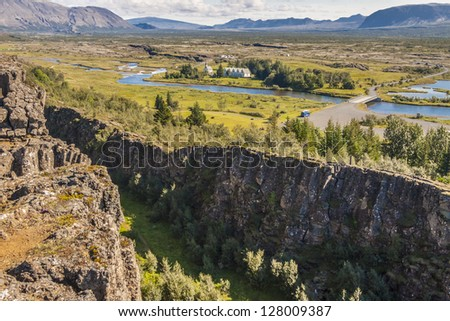 View on Thingvellir valley  - Iceland.  The seam between the Eurasian and North American tectonic plates - stock photo