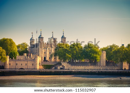 View on Tower of London from Thames - stock photo