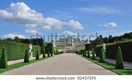 View on Upper Belvedere Palace and garden, Vienna, Austria - stock photo