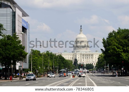 View on US Capitol from Pennsylvania avenue in Washington DC - stock photo