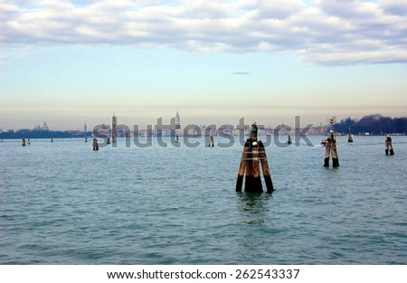 View on Venice from Lido island, Italy - stock photo