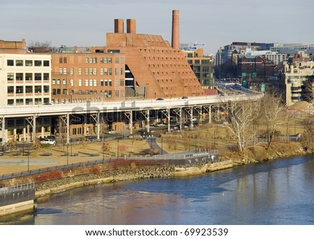 View on Washington DC from Key bridge in Georgetown - stock photo