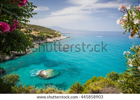 View on Xigia Beach on Zakynthos. Sulphur and collagen springs, Ionian Island, Greece - stock photo