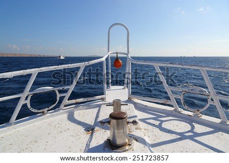 view on yacht bow floating on sea  - stock photo