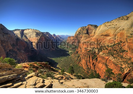 View on Zion National Park from Angel's landing point, Utah - stock photo