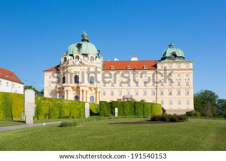 View onto Stift Klosterneuburg - a famous monastery and touristic spot in lower Austria - stock photo