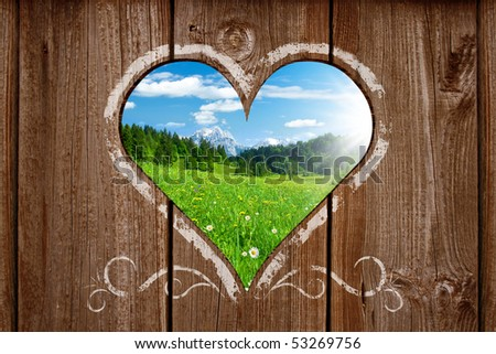 view out from a bavarian outhouse - stock photo