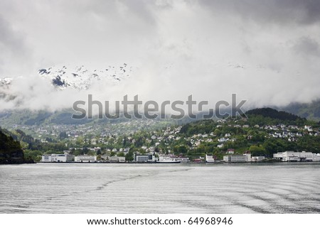View over a city in Norway - stock photo