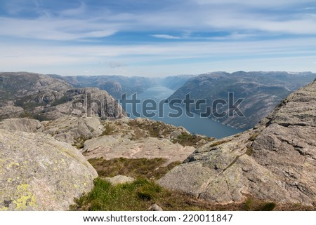 View over beautiful Lysefjord, Norway - stock photo