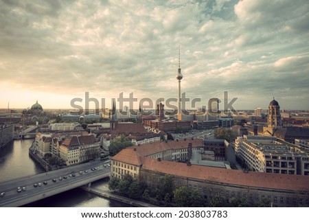 View over Berlin Mitte at evening, vintage style, Berlin, Capital of Germany, Europe - stock photo