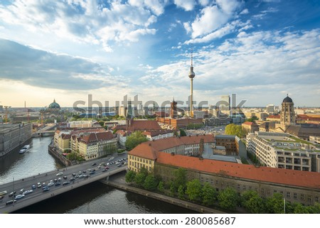 View over Berlin Skyline (TV Tower, Alexanderplatz, Town Hall, River Spree and Berlin Cathedral), Germany, Europe - stock photo