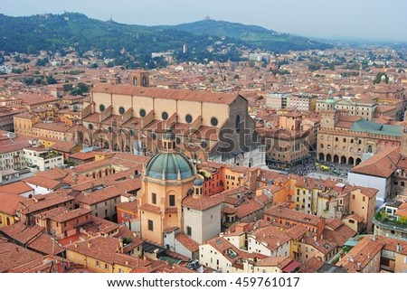 View over Bologna city center in Italy. - stock photo