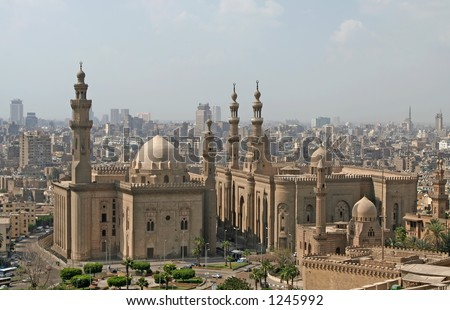 View over Cairo city with Mosque of Sultan Hassan - stock photo