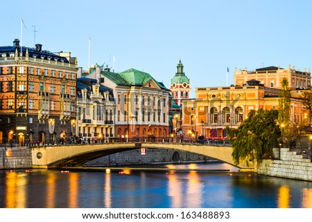 View over central Stockholm at dusk - stock photo