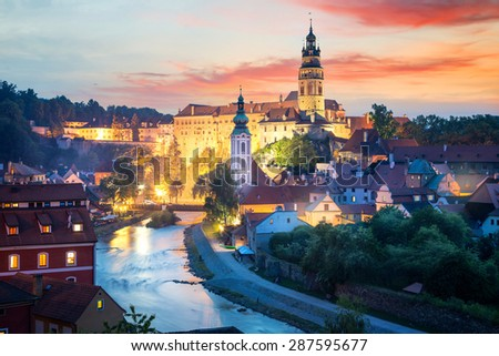 View over Cesky Krumlov with Moldau river at night, Czech Republic - stock photo