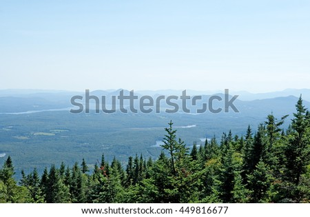View over coniferous forest and mountains in Canada. - stock photo