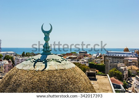 View over Constanta Romania , from the old town center mosque tower - stock photo