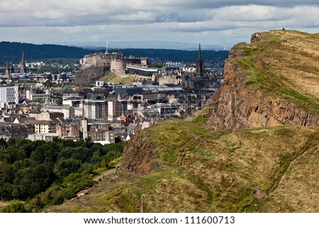 View over Edinburgh - stock photo