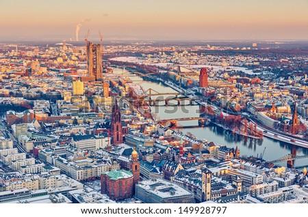 View over Frankfurt am Main at sunset - stock photo