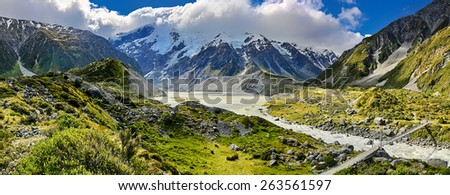 View over Hooker Valley, Mount Cook National Park - New Zealand - stock photo