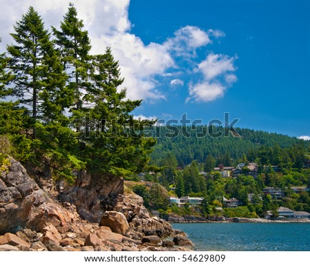 View over Horseshoe Bay Whytecliff park in West Vancouver, Canada. - stock photo