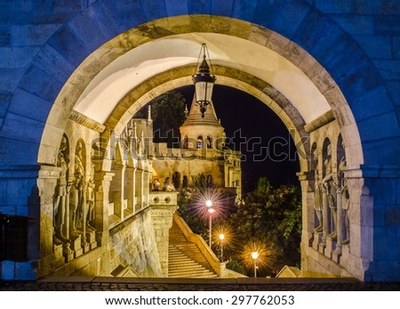 View over illuminated stairway leading to halaszbastya - fisherman bastion in hungarian capital Budapest. - stock photo