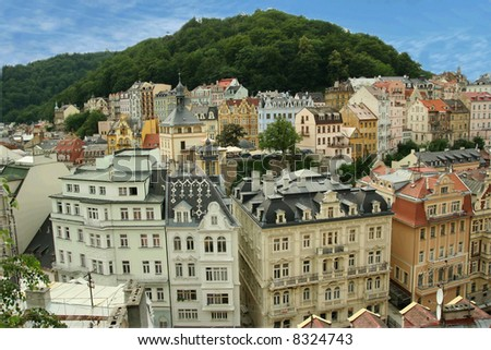 View over Karlovy Vary - stock photo
