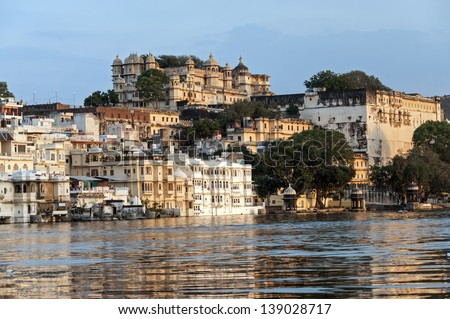 View over lake Pichola at dusk, Udaipur, India - stock photo