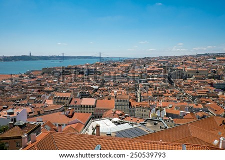 View over Lisbon in Portugal with the river Tagus in the back - stock photo